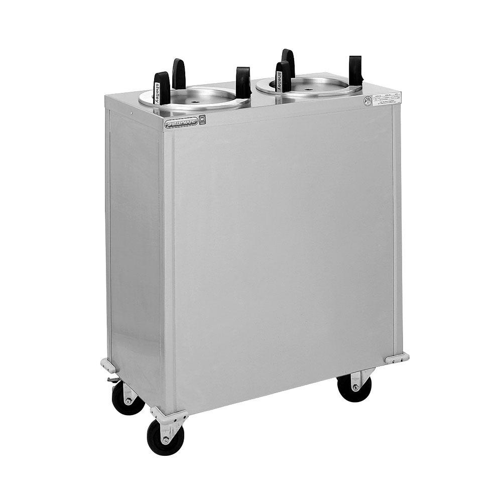 "Delfield CAB2-1450QT Quick Temp Mobile Enclosed Two Stack Heated Dish Dispenser / Warmer for 12"" to 14 1/2"" Dishes - 120V"