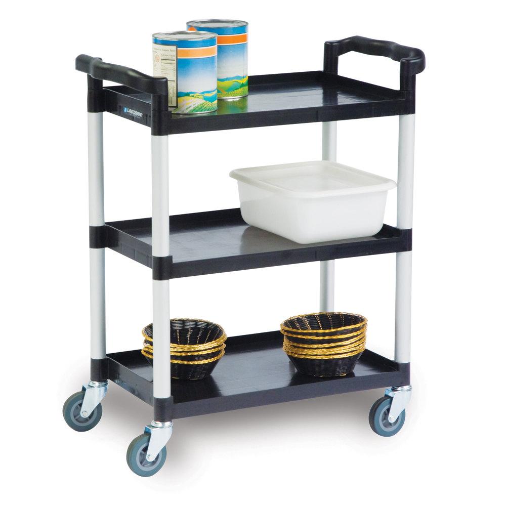 lakeside 2500 black plastic three shelf utility cart 31. Black Bedroom Furniture Sets. Home Design Ideas