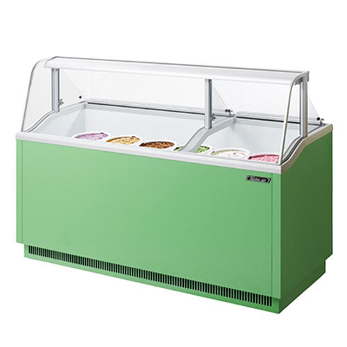 """Turbo Air Refrigeration Turbo Air TIDC-70G Green 70"""" Ice Cream Freezer Dipping Cabinet with Low Curved Glass - 16.07 Cu. Ft. at Sears.com"""