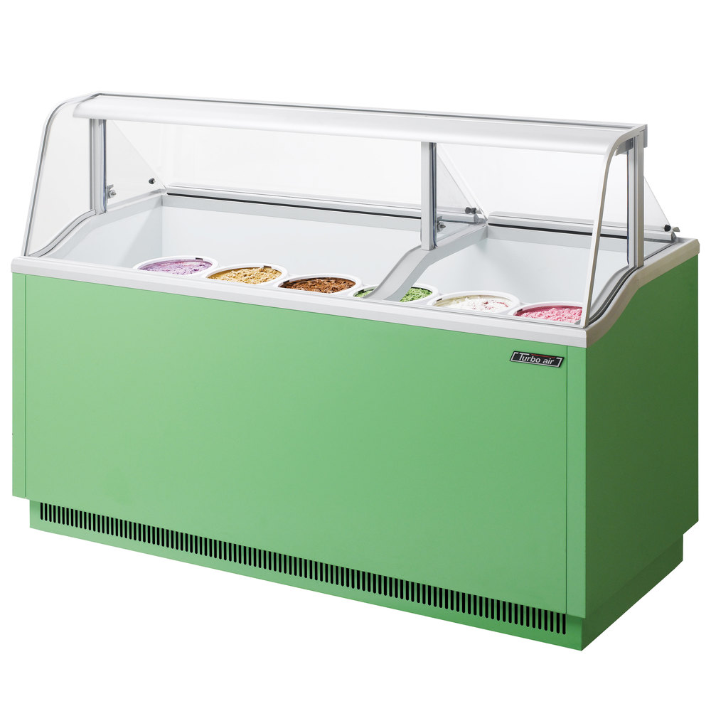 "Turbo Air TIDC-70G 70"" Green Low Curved Glass Ice Cream Dipping Cabinet"