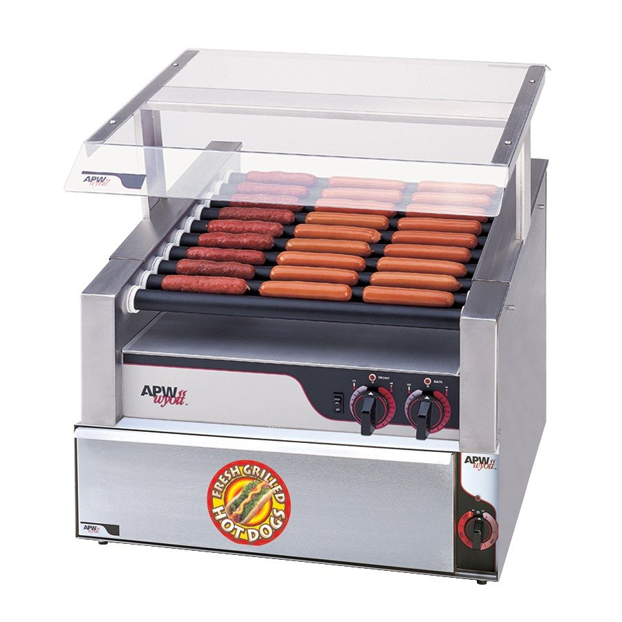 """APW Wyott HR-31SBW 24"""" Hot Dog Roller Grill with Slanted Chrome Plated Rollers and Bun Warmer - 120V at Sears.com"""