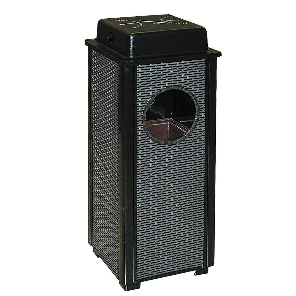 Rubbermaid FGR41WU Dimension 500 Series Black with Anthracite Perforated Steel Panels Square Steel Ash/Trash Receptacle with Weather Shield and Rigid Plastic Liner 2.5 Gallon (FGR41WU500PL)