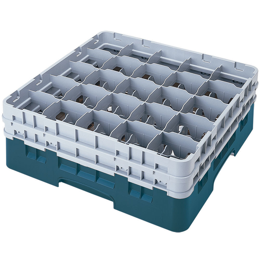 "Cambro 25S1214414 Camrack 12 5/8"" High Teal 25 Compartment Glass Rack"