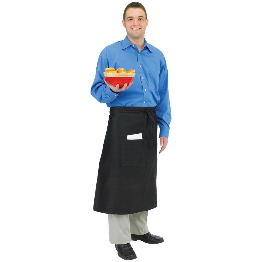 Chef Revival 607BA2-BK Long Black Crew Bistro Apron with Two Pockets – 28 inch x 34 inch