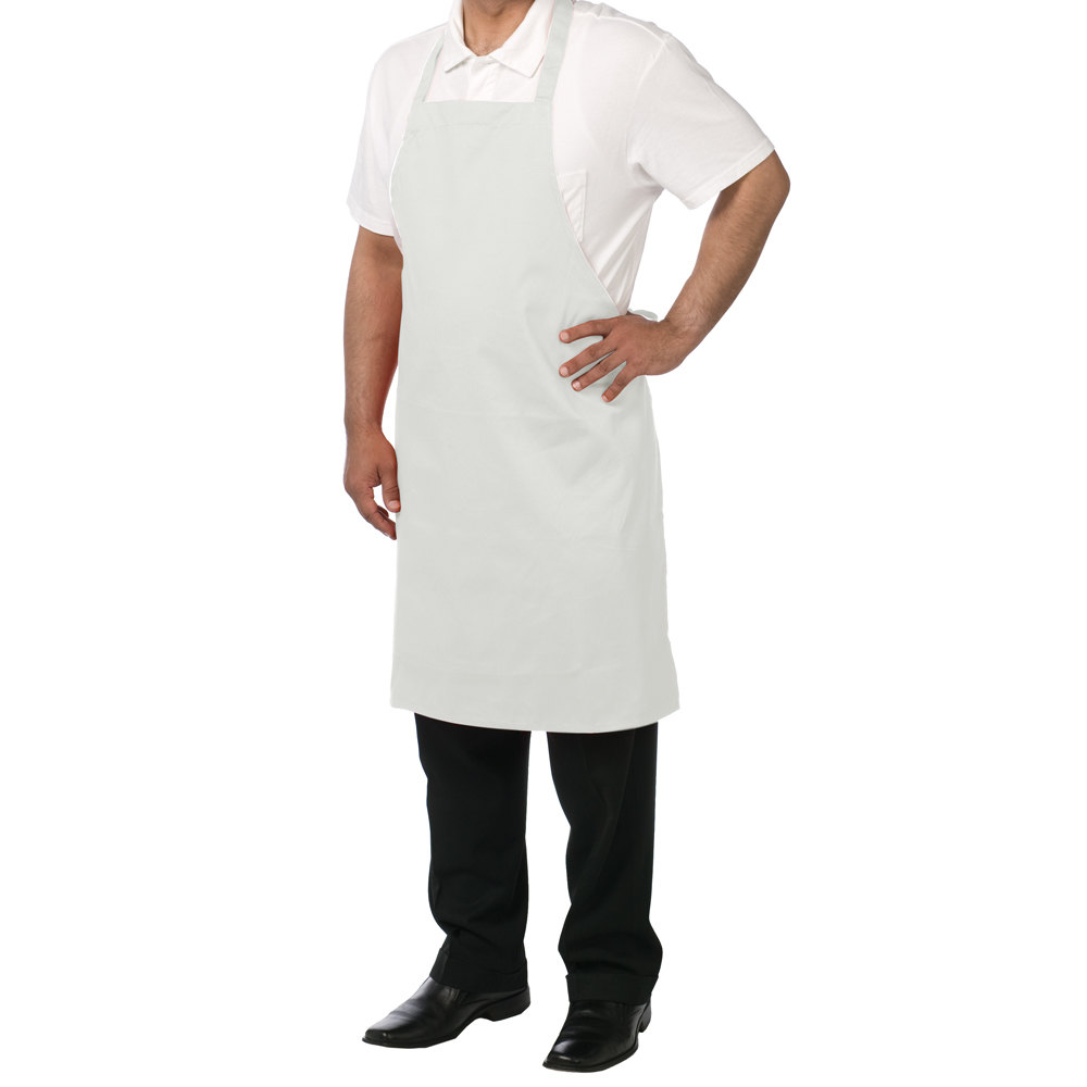 "Chef Revival 601NP-WH Customizable White Bib Apron - 34""L x 28""W"