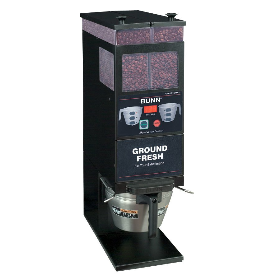 Bunn BrewWISE G9-2T DBC Portion Control Coffee Grinder - Double Hopper Black 120V (Bunn 33700.0001)