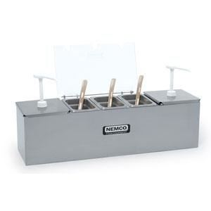 "Nemco 88100-CB-3 26"" Stainless Steel Condiment Bar with Two 3 Qt. Pumps and 0.6 Qt. Condiment Trays"