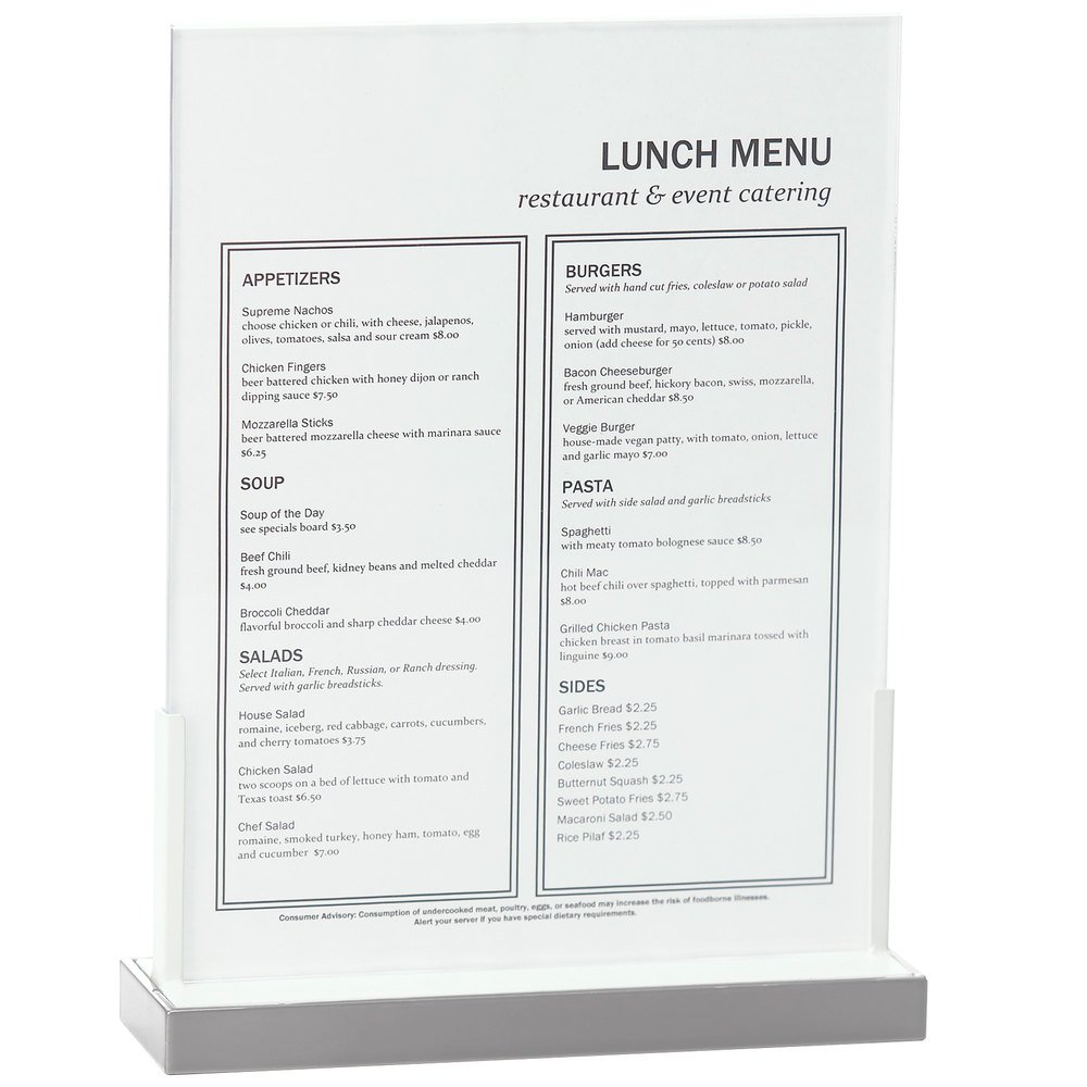 "Cal-Mil 3016-811-55 Luxe Menu Holder with Stainless Steel Base - 9"" x 2 5/8"" x 12"""