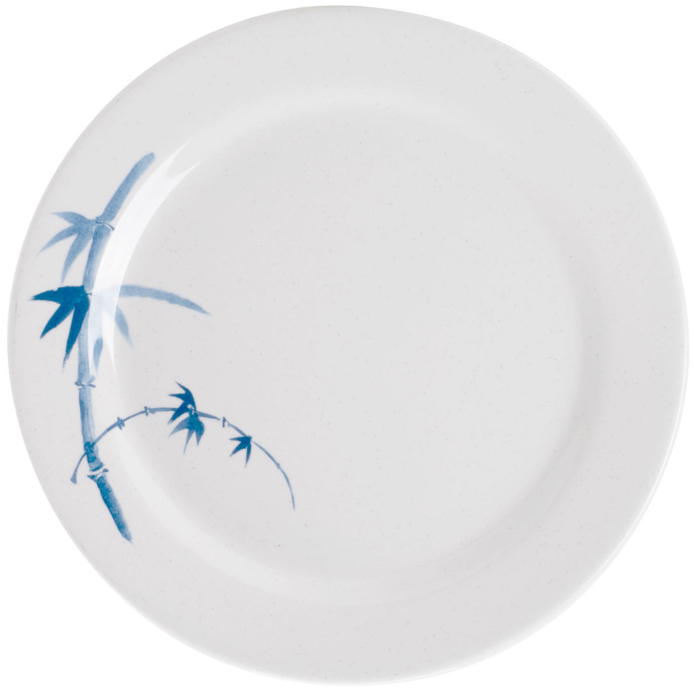 "Blue Bamboo 7 7/8"" Round Melamine Plate - 12/Pack"
