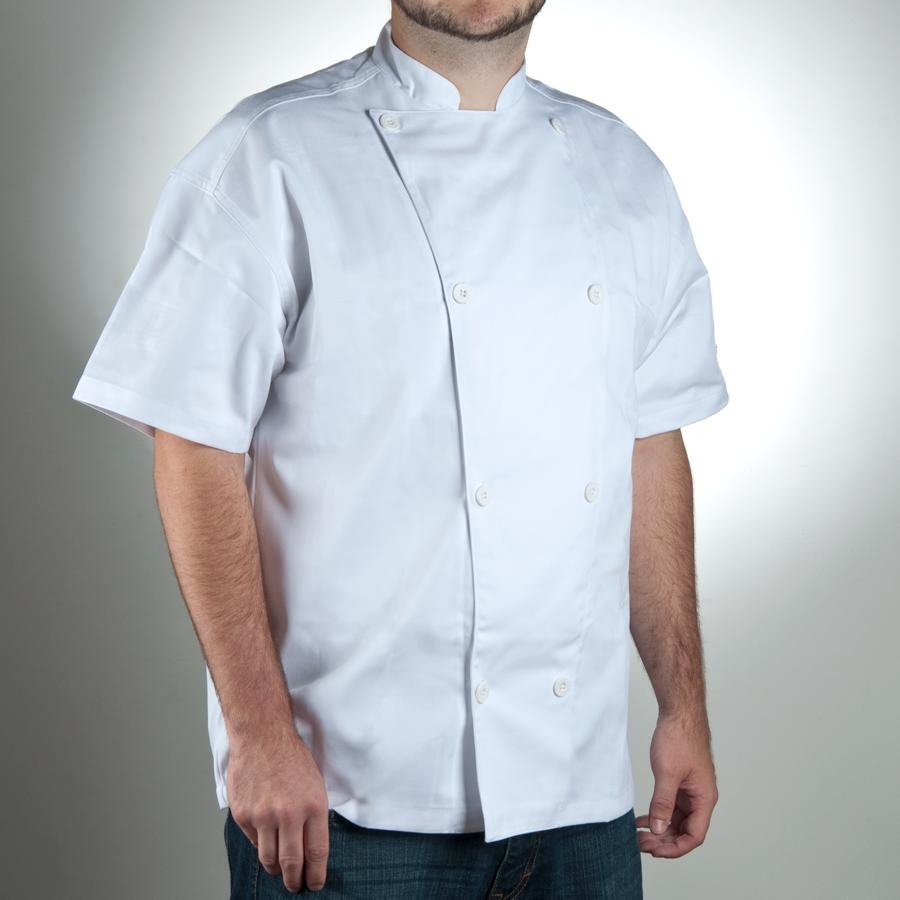 Chef Revival Silver J005-M Knife and Steel Size 42 (M) White Customizable Short Sleeve Chef Jacket - Poly-Cotton Blend
