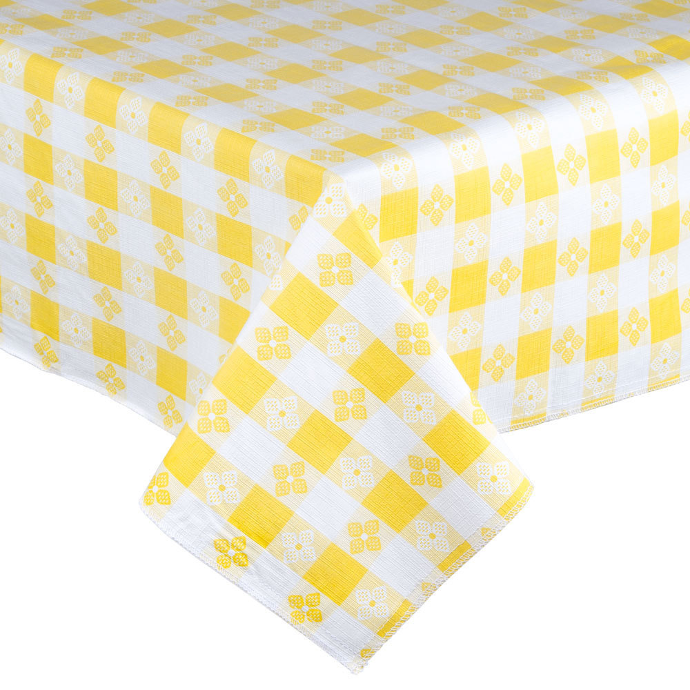 Yellow Checkered Vinyl Table Cover With Flannel Back 25