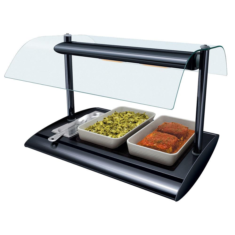 Hatco SRGBW-1 Bold Black Serv-Rite Portable Heated Glass Buffet Warmer with Overhead Heating - 650W