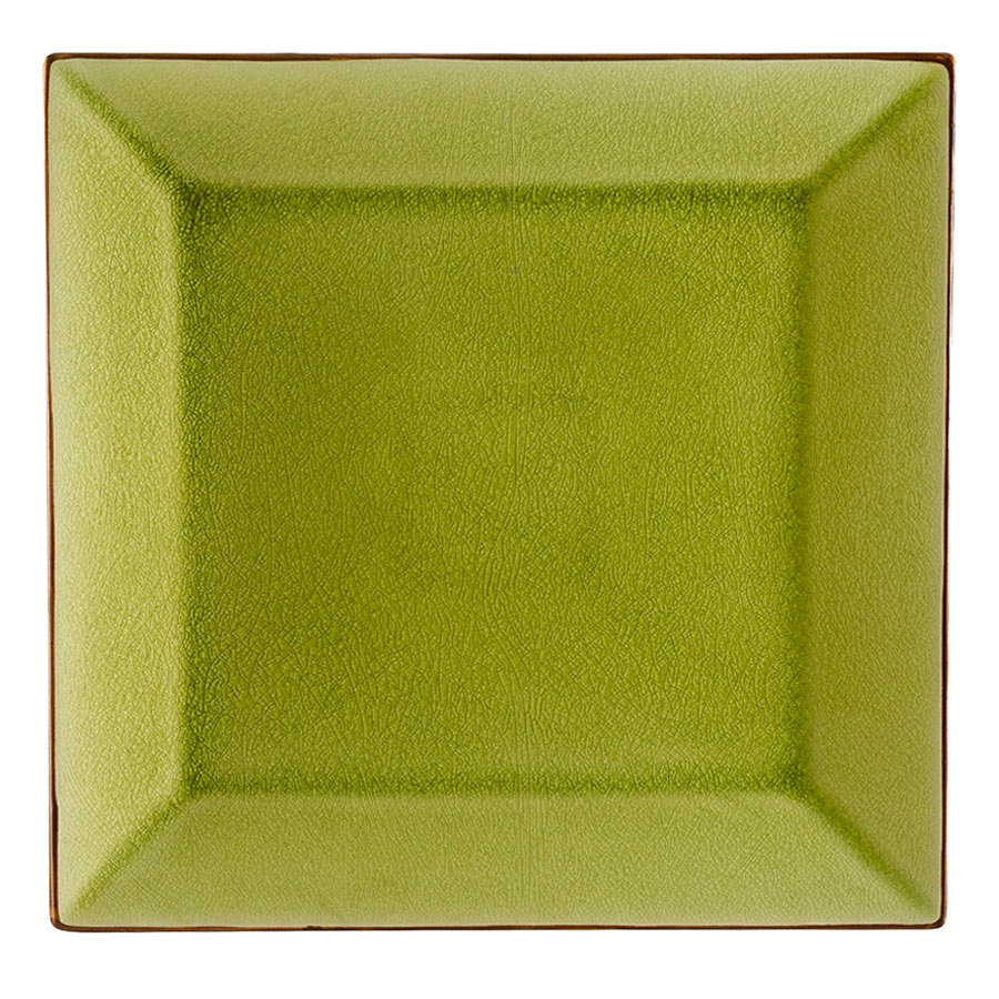 "CAC 666-5G Japanese Style 5"" Square China Plate - Black Non-Glare Glaze / Golden Green - 36/Case"