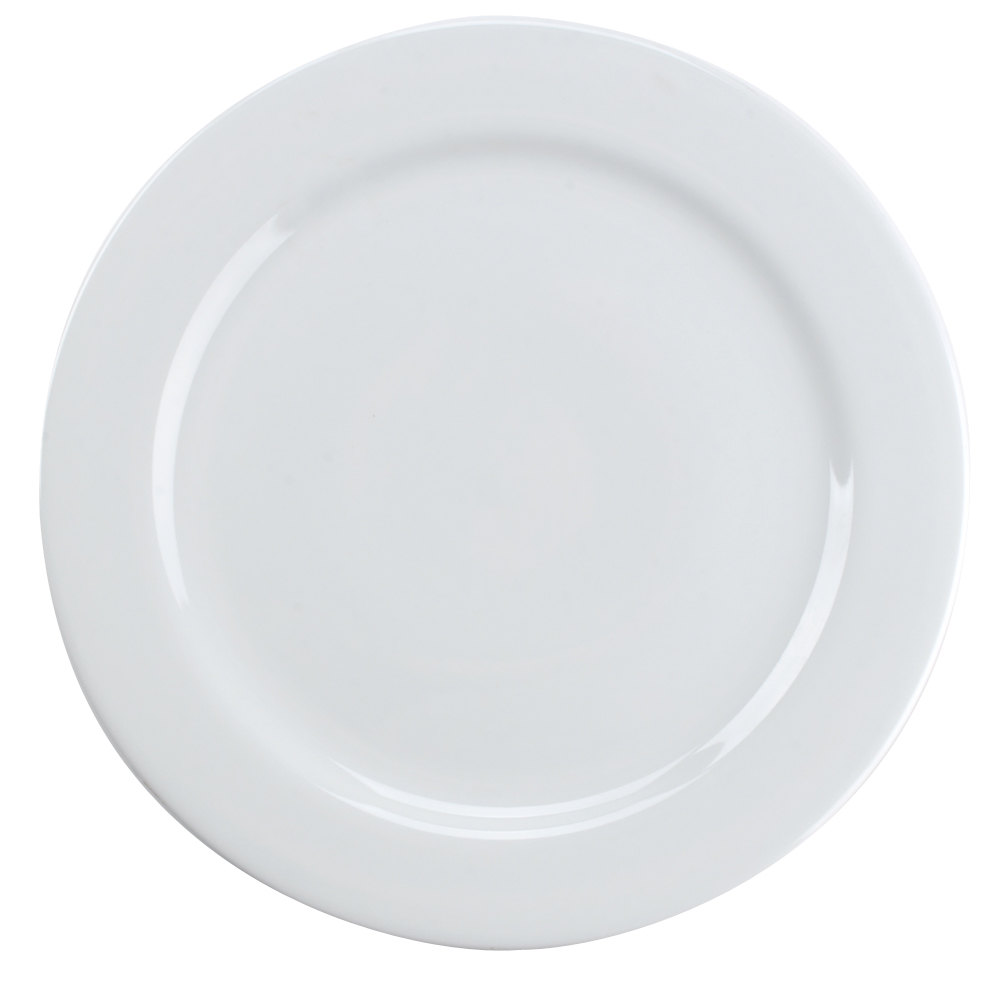 Tuxton ALA-120 Alaska 12 inch Wide Rim Rolled Edge Bright White China Plate 12/Case