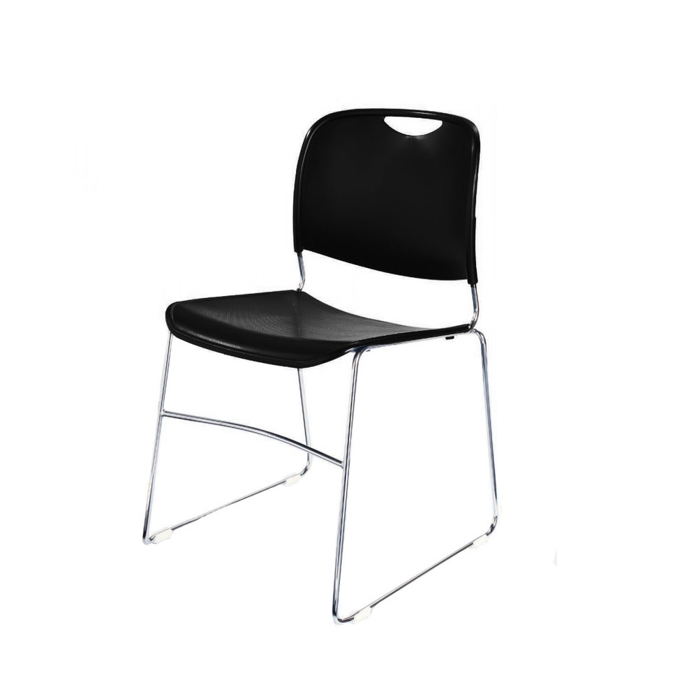 8510 black stackable ultra compact plastic chair with chrome frame