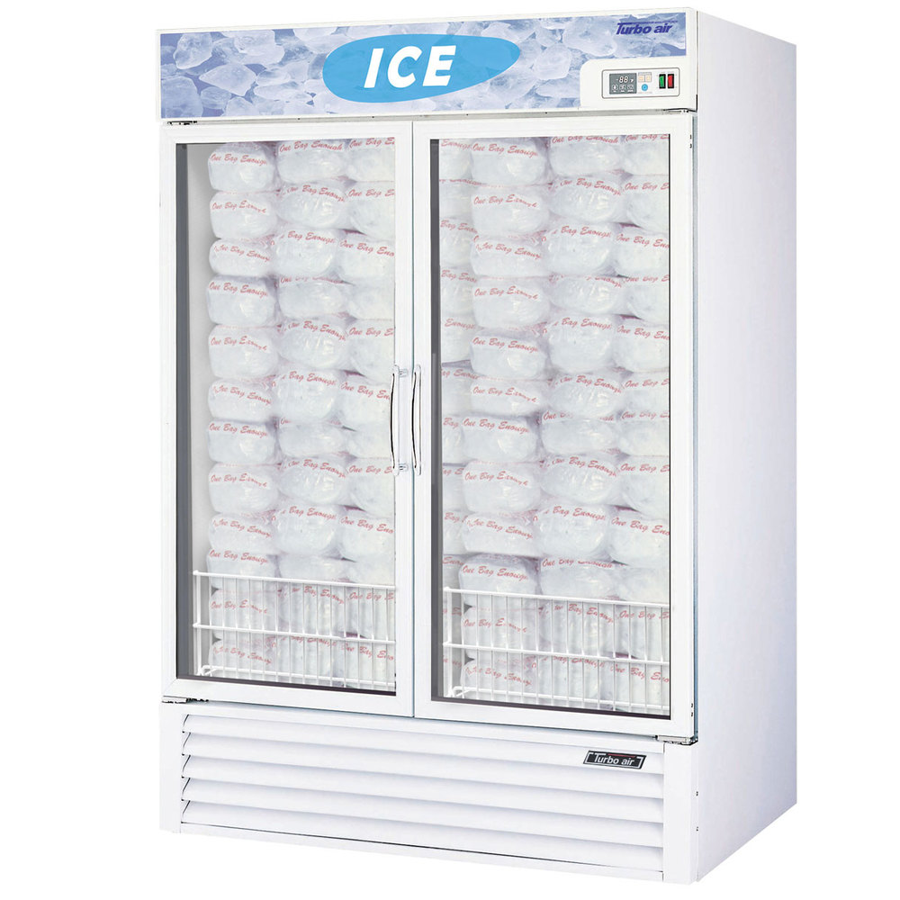 "Turbo Air TGIM-49 White 55"" Two Glass Door Reach In Ice Freezer - 46 cu. ft."