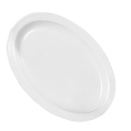 "Nustone Melamine NS516W White Oval Platter Narrow Rim 15 1/2"" x 10 7/8"" - 6/Pack"