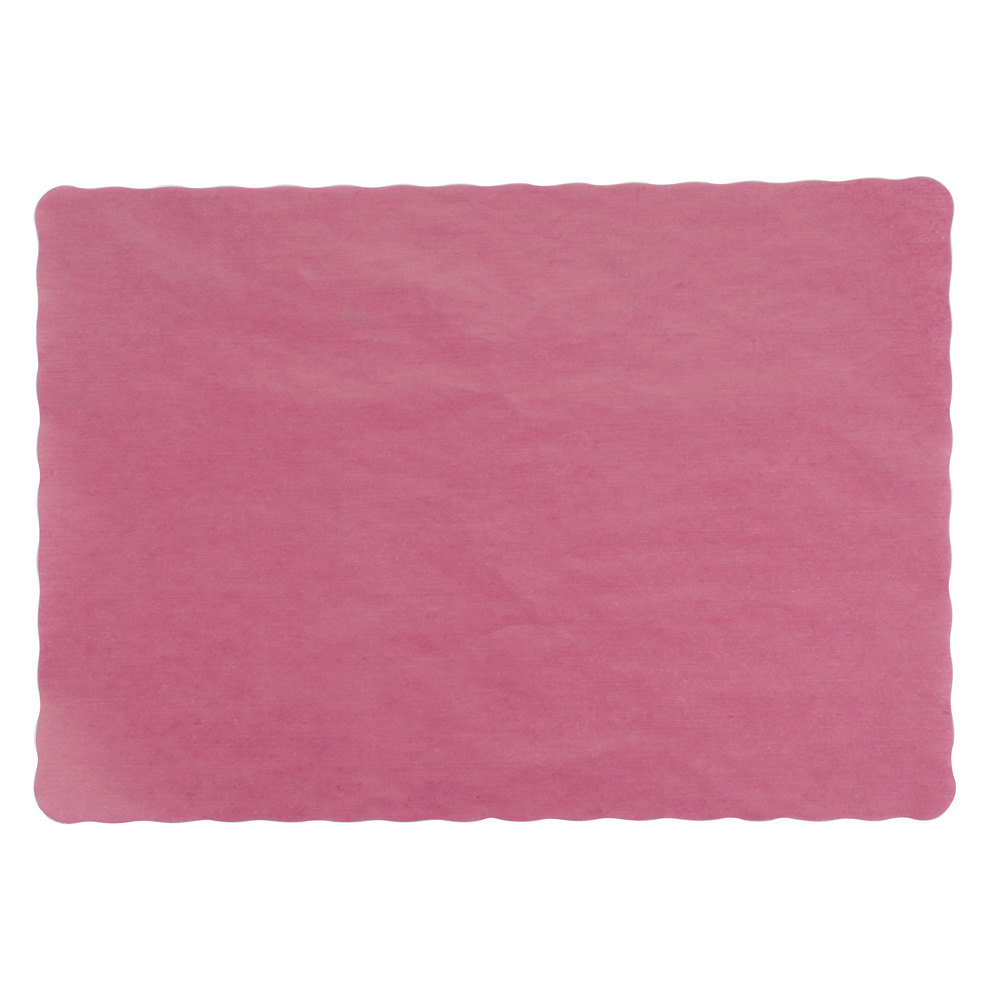 Burgundy Colored Paper Placemat, Scalloped Edge, 10 inch x 14 inch 1000 / Case