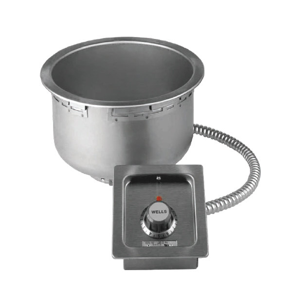 120 Volts Wells SS10TUC 11 Qt. Round Drop In Soup Well - Top Mount, Thermostatic Control