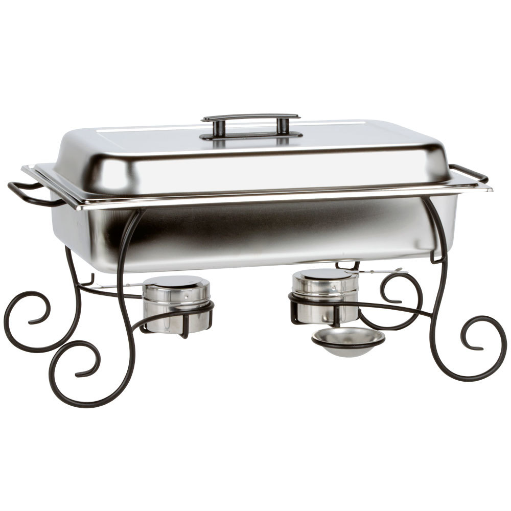 Choice 8 Qt Full Size Chafer Set With Black Wrought Iron