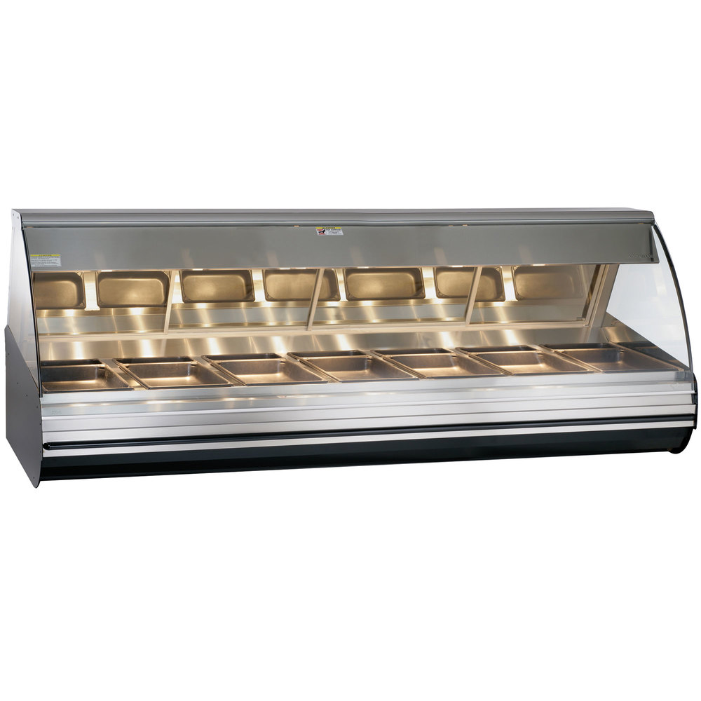 Alto-Shaam HN2-96/PL S/S Stainless Steel Countertop Heated Display Case with Curved Glass - Left Self Service 96""
