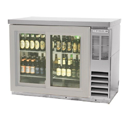 "Beverage Air (Bev Air) BB48GSY-1-S-27-PT 48"" SS Pass-Thru Back Bar Refrigerator with Sliding Glass Doors and Stainless Steel Top at Sears.com"