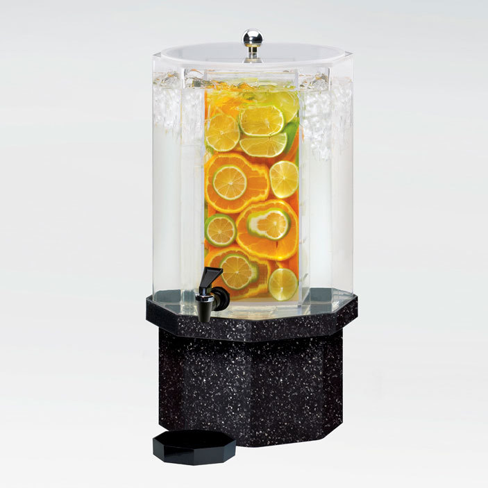 Cal Mil 972-1-INF-16 1.5 Gallon Classic Octagon Infusion Dispenser with Gray Granite Base - 11 inch x 11 inch x 18 inch