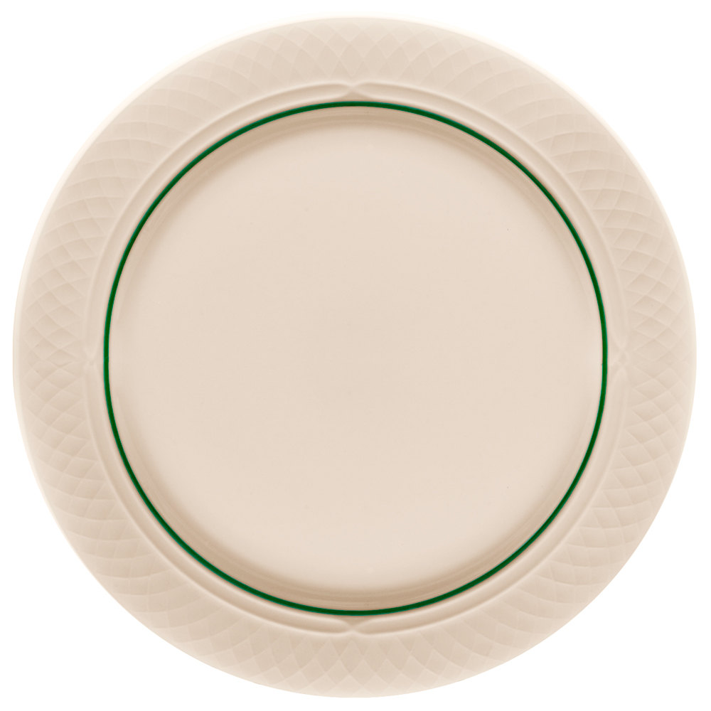 "Homer Laughlin 1430-0342 Green Jade Gothic Off White 12 1/2"" China Plate - 12/Case"