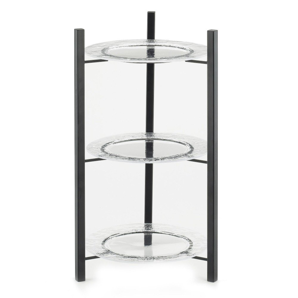 Cal Mil 1136-8-13 Black One By One 3-Tiered Plate Display Frame – 9 inch x 9 inch x 17 1/2 inch