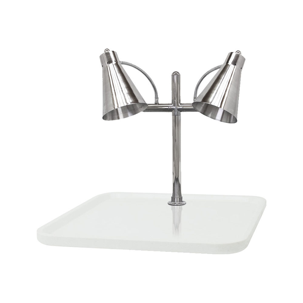 "Buffet Enhancements 010HFD-WG30RT 30"" Carving Station with Rectangular White Granite Base and Two Flex Lamps"