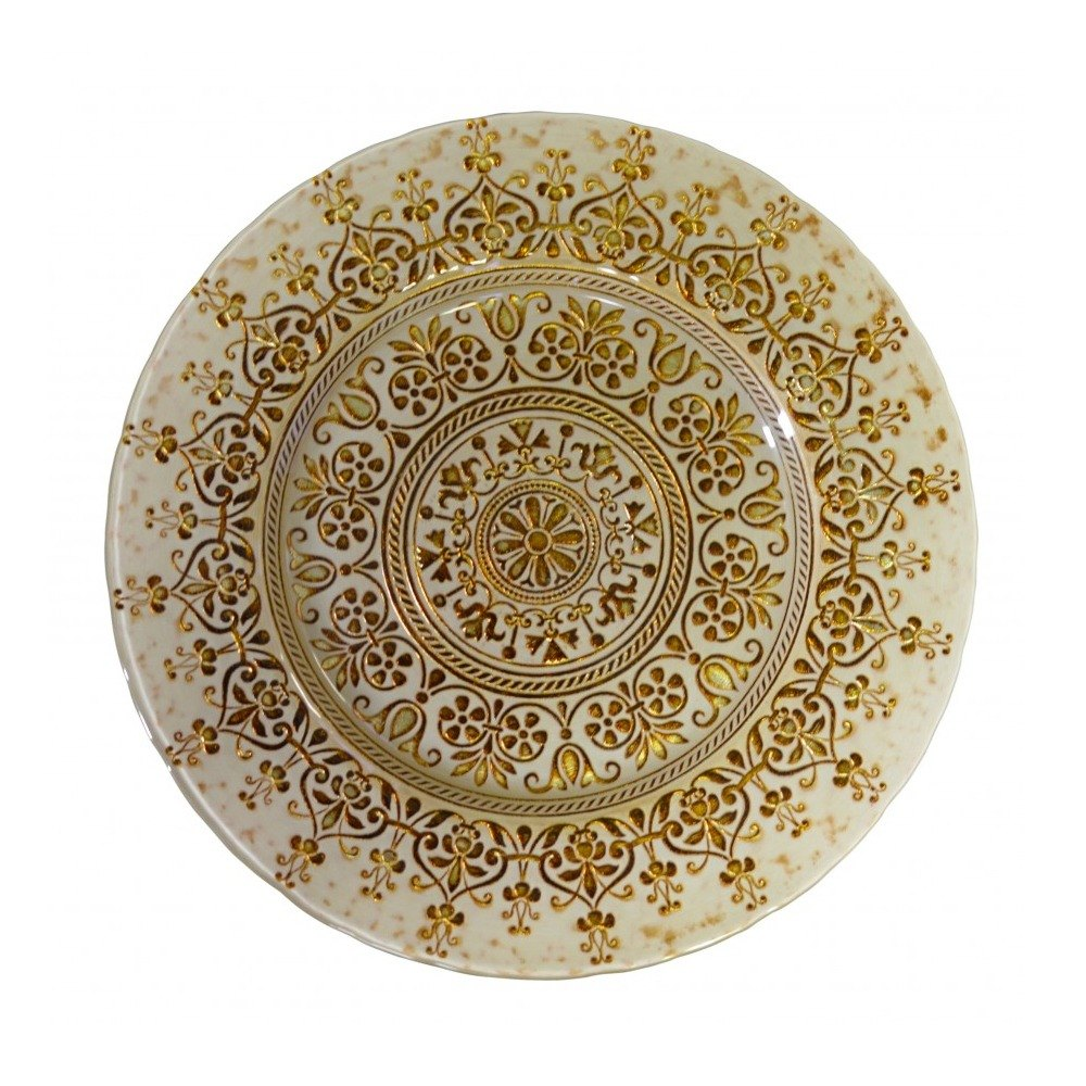 "10 Strawberry Street MON-340(BEI-GOLD) 13 1/4"" Monaco Beige/Gold Glass Charger Plate - 6/Case"