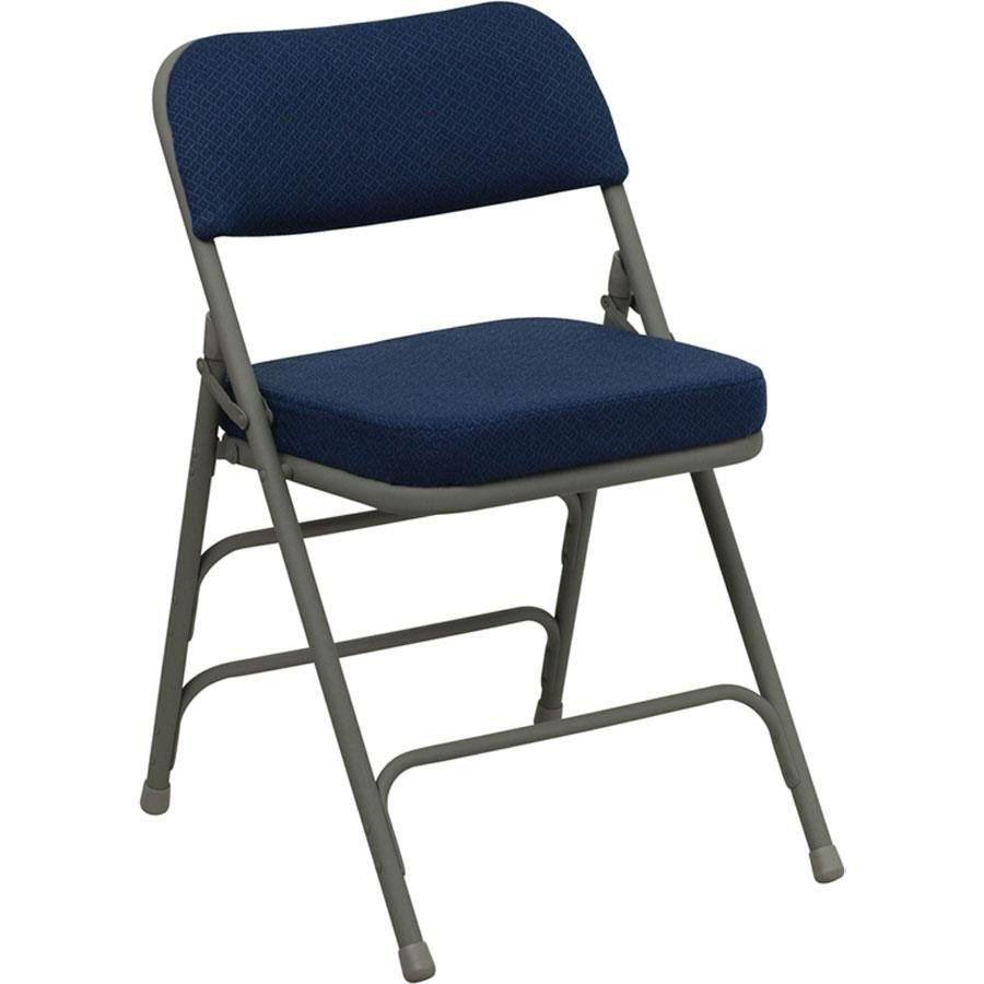 "Navy Blue Metal Folding Chair with 2 1 2"" Padded Fabric Seat"