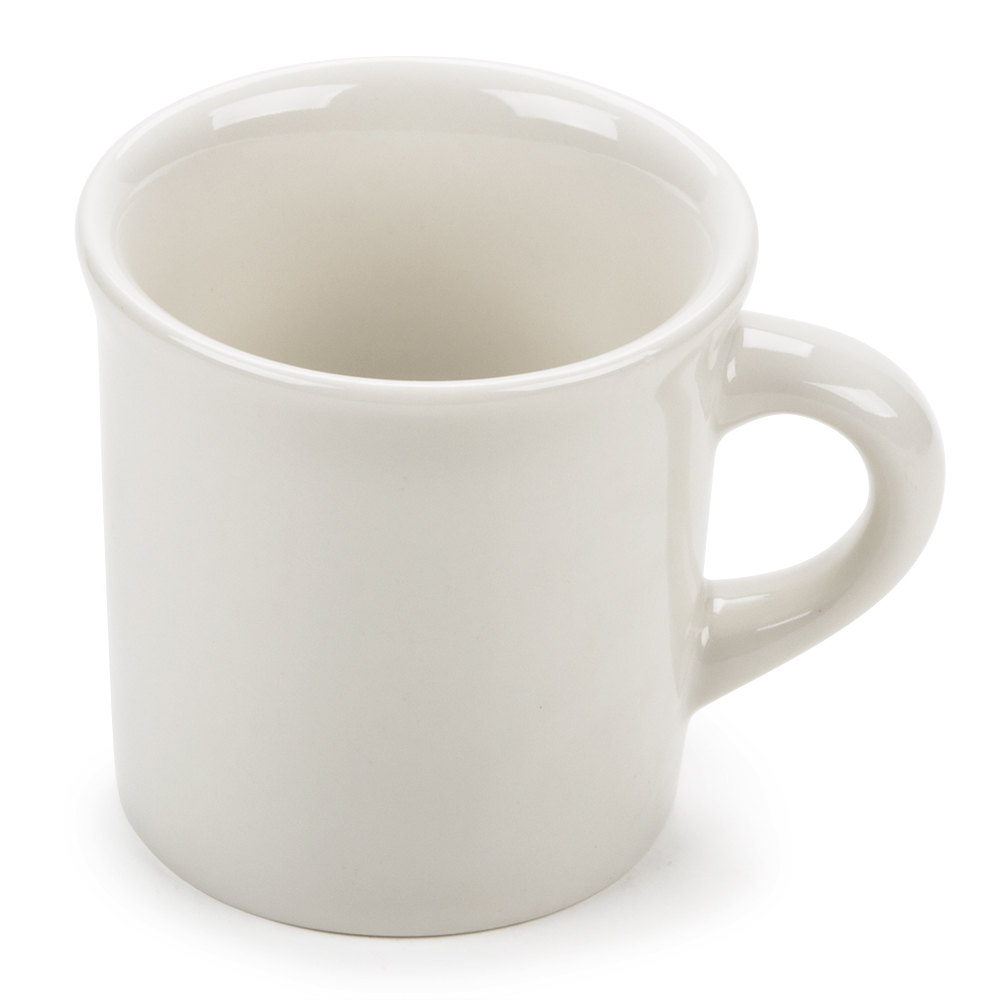 Tuxton TRE-038 Reno / Nevada Rolled Edge China Coffee Cup / Mug 9 oz. Wide Rim, American White (Ivory / Eggshell) 36/Case