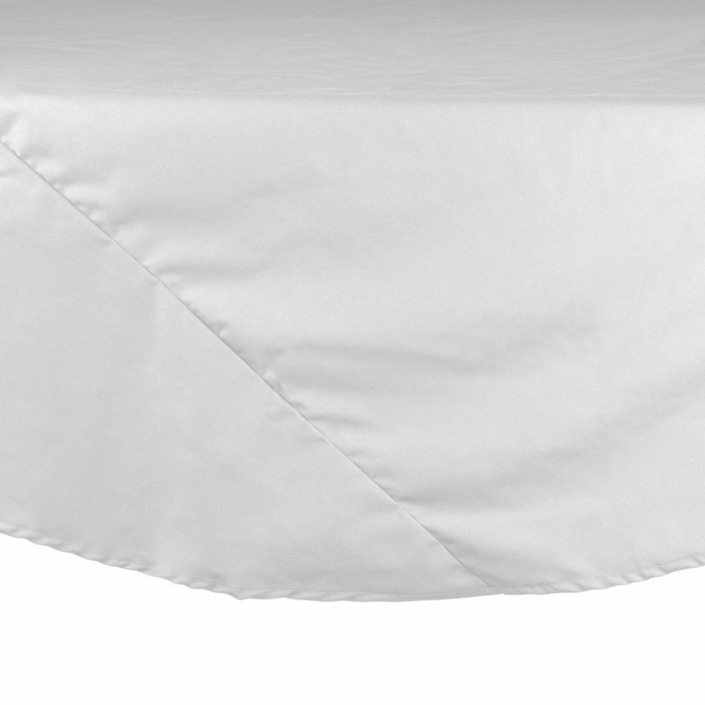"72"" White Round Hemmed Poly Cotton Tablecloth"