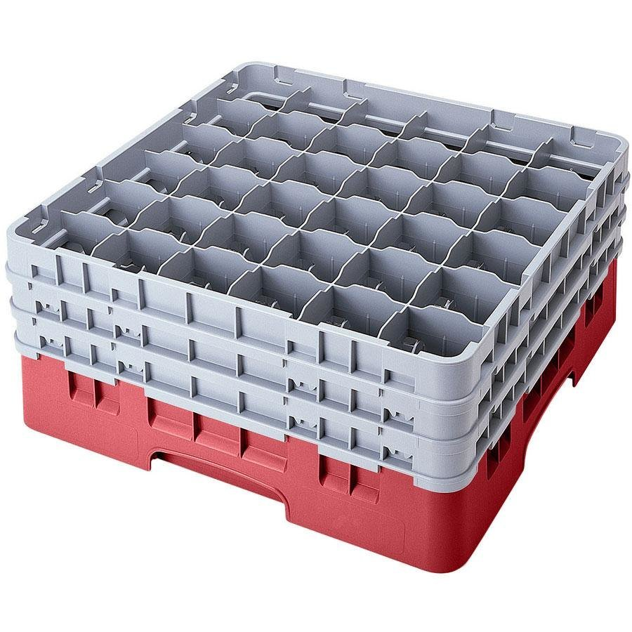 "Cambro 36S318416 Cranberry Camrack 36 Compartment 3 5/8"" Glass Rack"