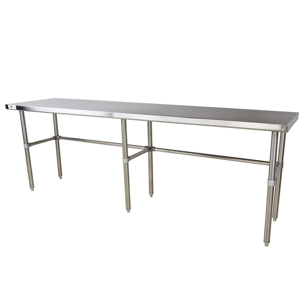 "Regency 30"" x 84"" 16-Gauge 304 Stainless Steel Commercial Open Base Work Table"