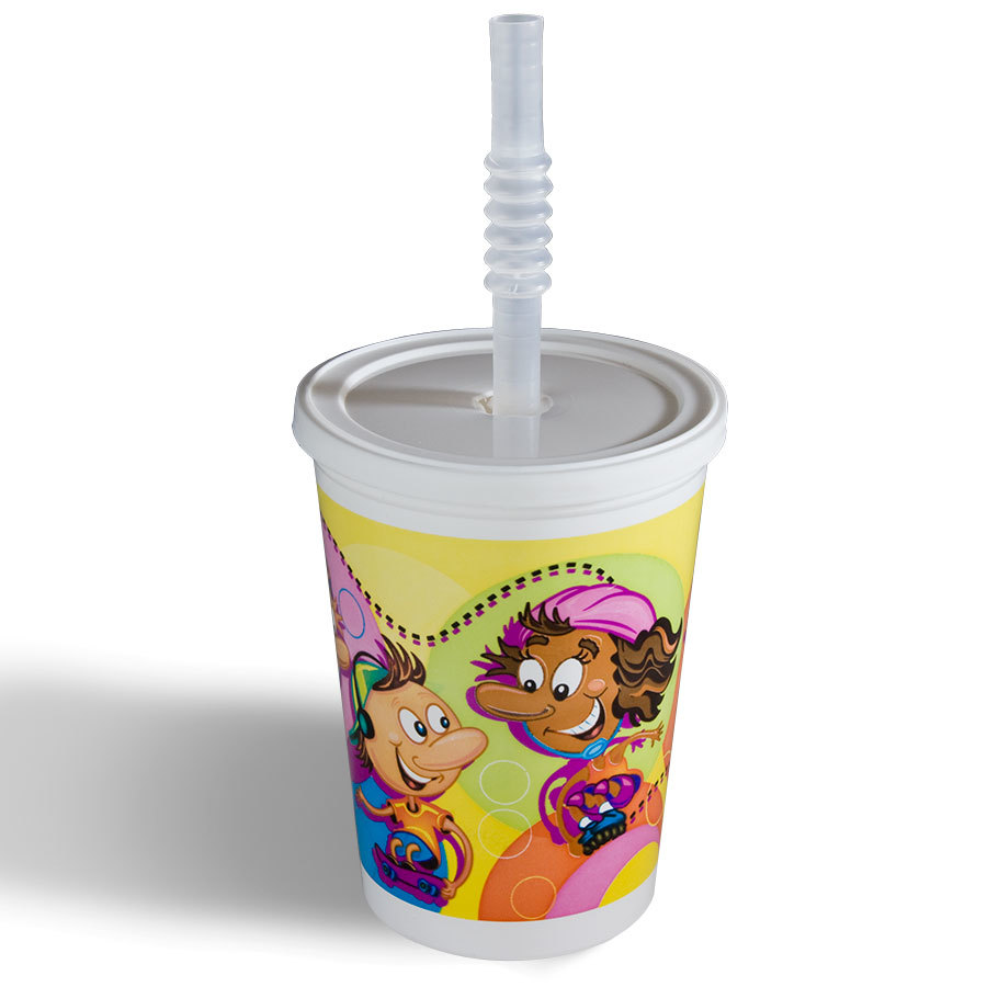 Huhtamaki 12 oz. Plastic Kids Cup - Rollerskate / Skateboard with Reusable Lid and Straw - 250 / Case at Sears.com
