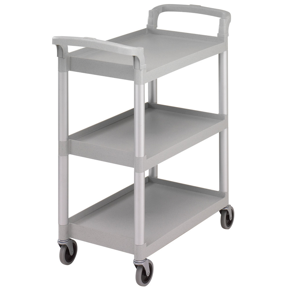 "Cambro BC331KD480 Speckled Gray Three Shelf Utility Cart (Unassembled) - 32 7/8"" x 16 1/4"" x 38"""