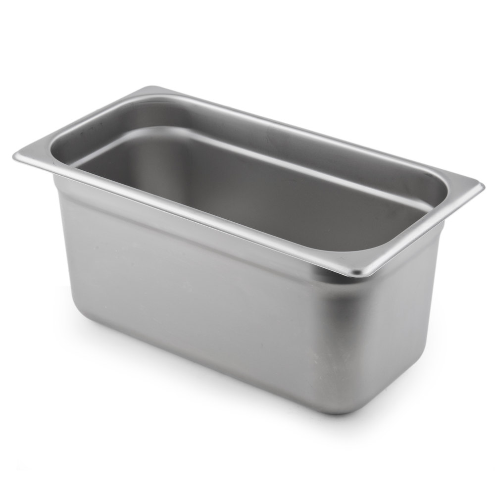 1/3 Size Standard Weight Stainless Steel Anti-Jam Steam Table / Hotel Pan - 6 inch Deep