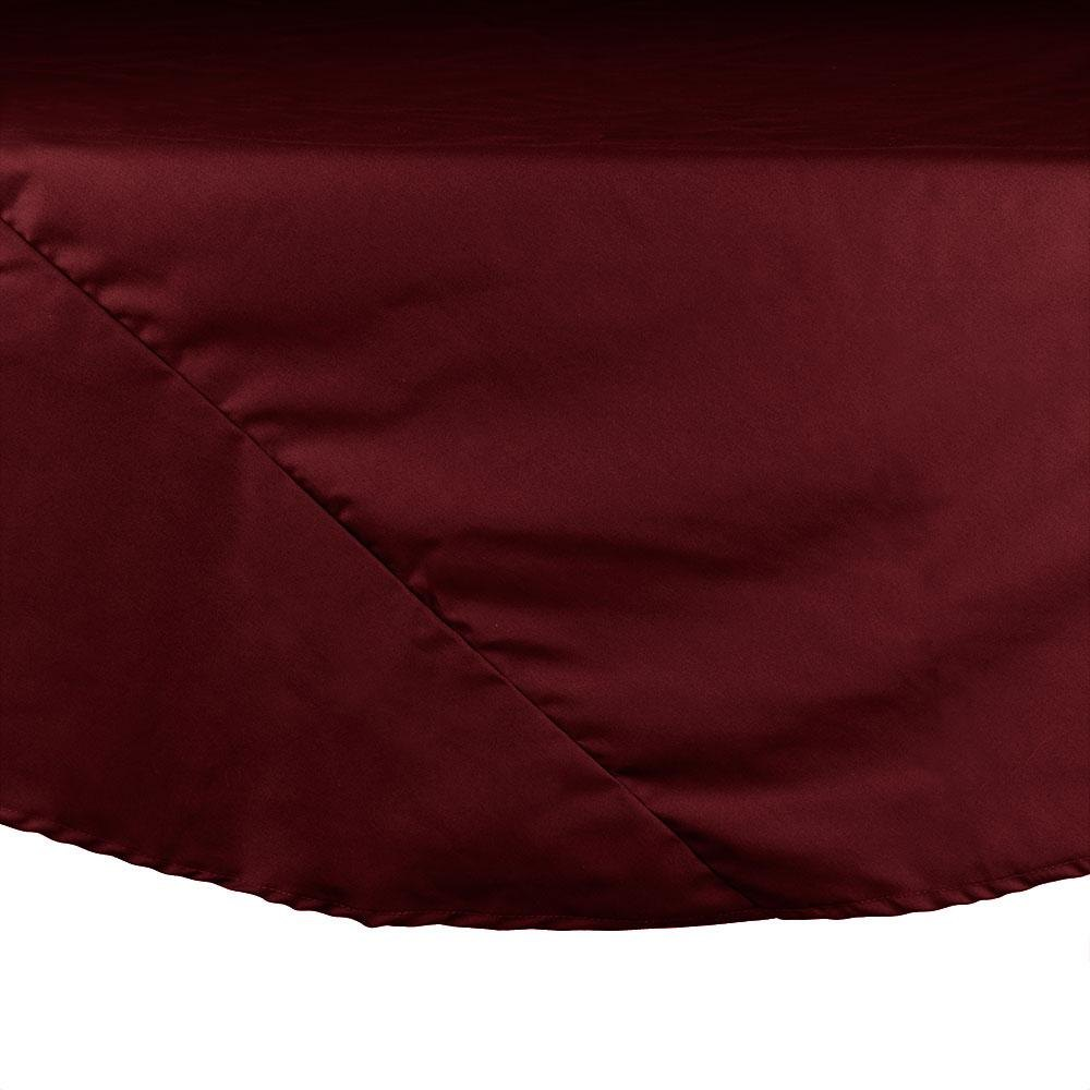 "64"" Burgundy Round Hemmed Polyspun Cloth Table Cover"