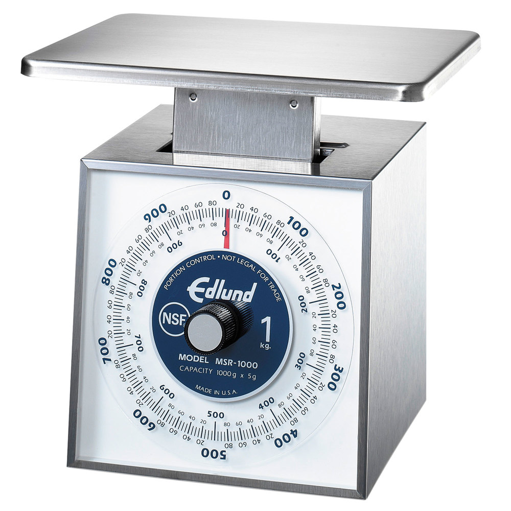"Edlund MSR-1000 OP 1000 g Stainless Steel Metric Portion Scale with Oversized 7"" x 8 3/4"" Platform"