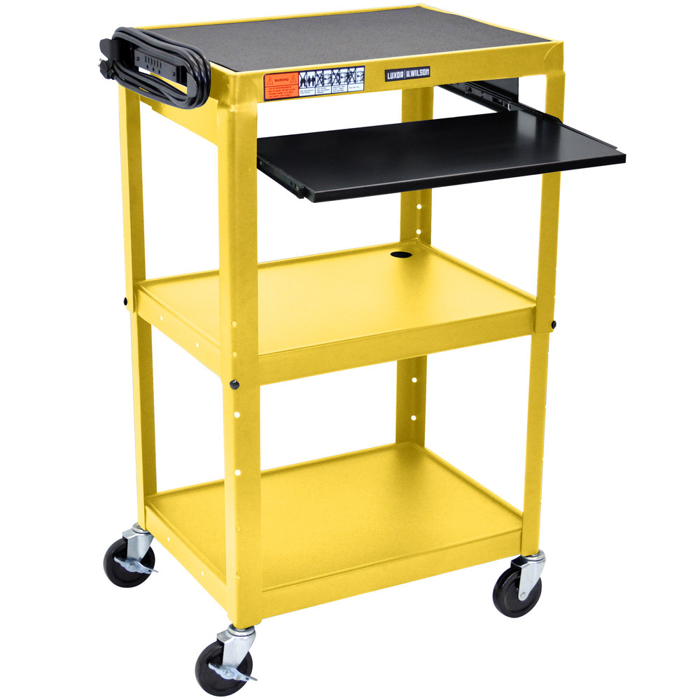luxor avj42kb yw yellow mobile computer cart workstation 24 x 18 with keyboard shelf. Black Bedroom Furniture Sets. Home Design Ideas