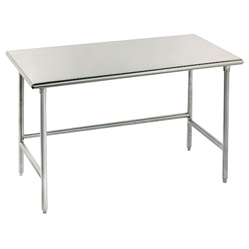 "Advance Tabco TSS-487 48"" x 84"" 14 Gauge Open Base Stainless Steel Commercial Work Table"