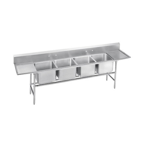 Advance Tabco 94-4-72-36RL Spec Line Four Compartment Pot Sink with Two Drainboards - 146""