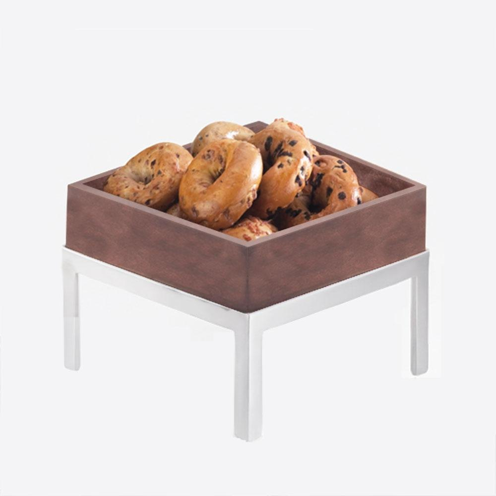 Cal Mil 1477-10-52 10 inch Dark Wood Square Deep Tray