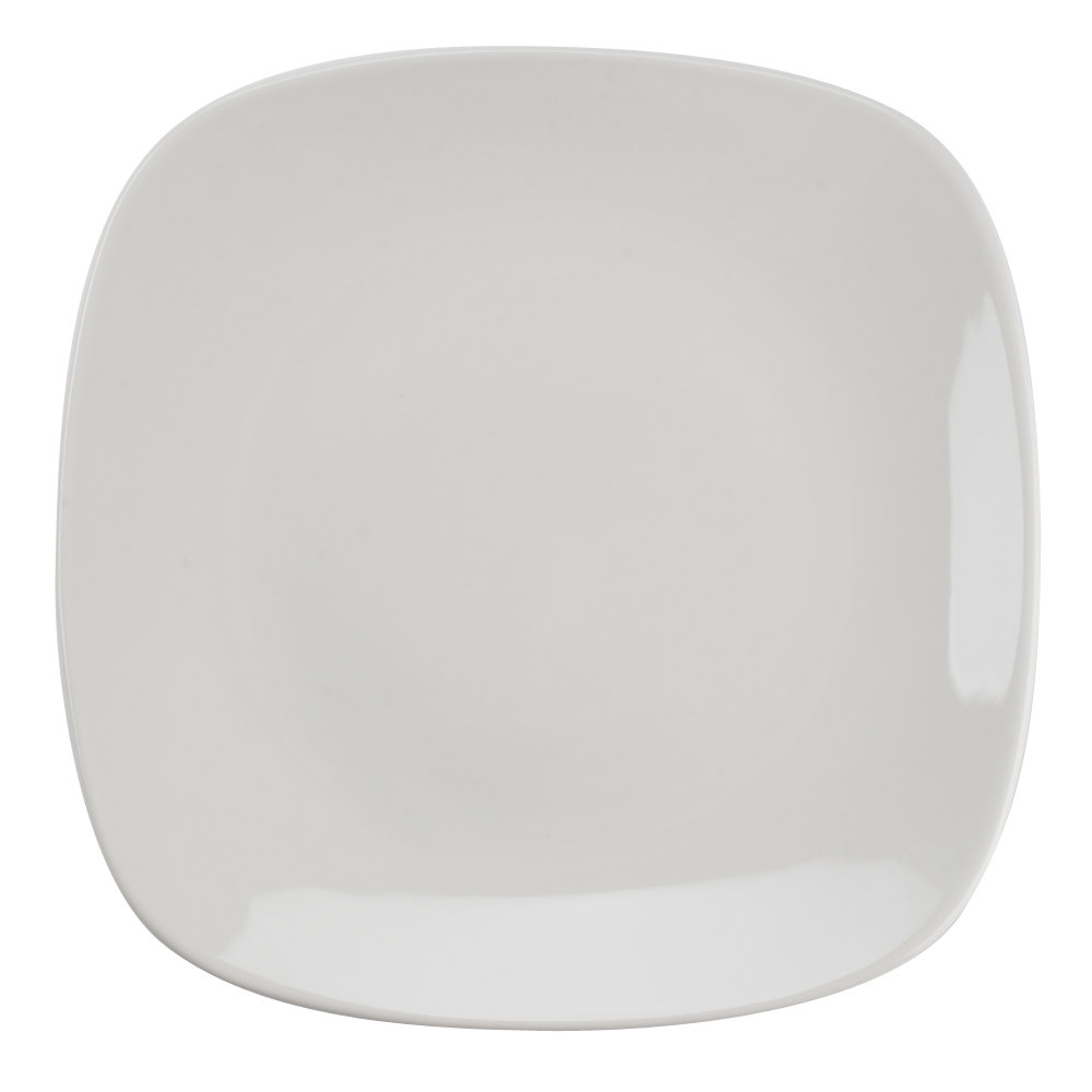 "Tuxton BEH-110C 11"" DuraTux American White (Ivory / Eggshell) Square China Plate 12/Case"
