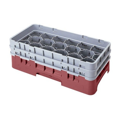 "Cambro 17HS434416 Camrack 5 1/4"" High Cranberry 17 Compartment Half Size Glass Rack"