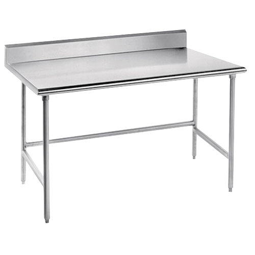 "Advance Tabco TKSS-240 24"" x 30"" 14 Gauge Open Base Stainless Steel Commercial Work Table with 5"" Backsplash"