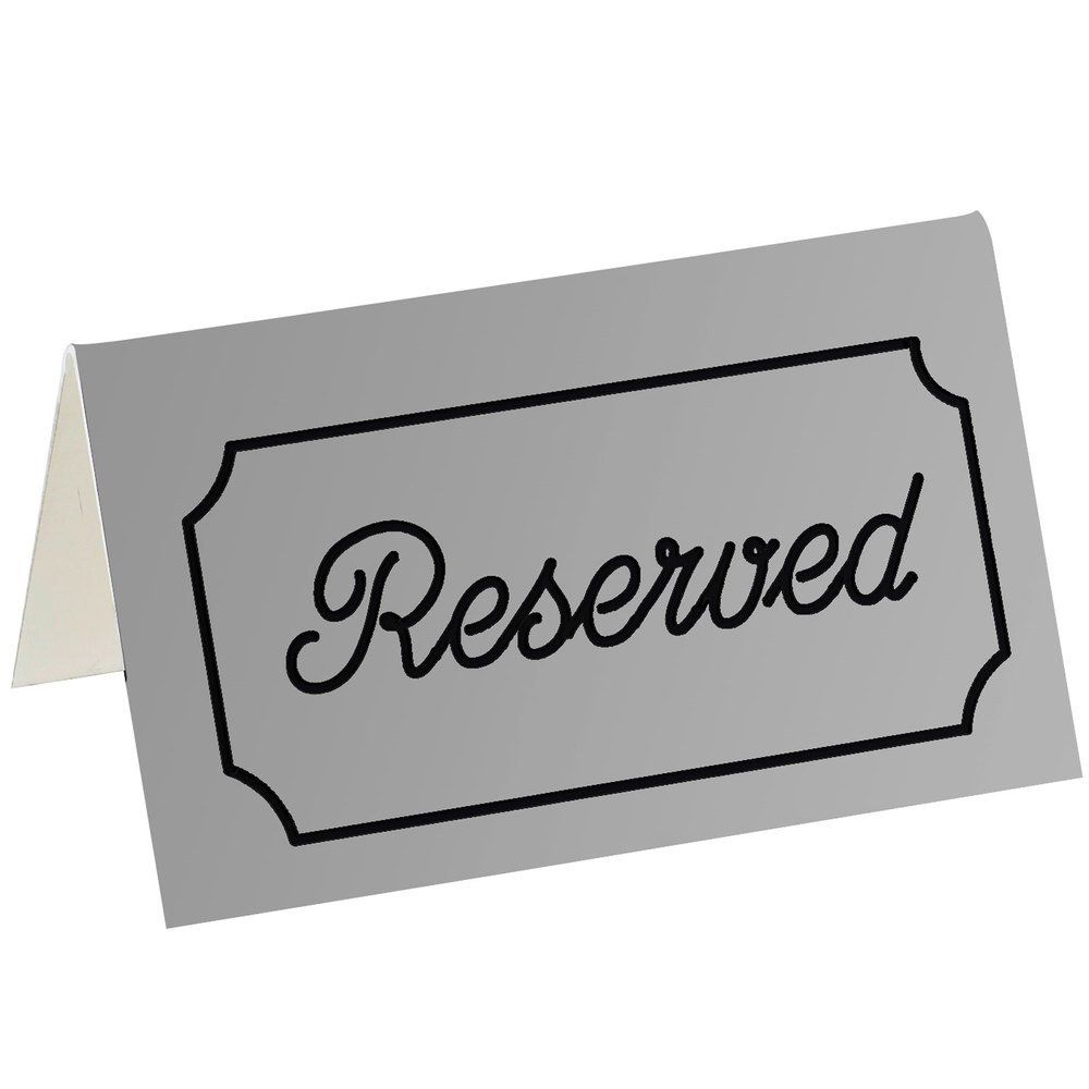 "Cal-Mil 273-10 5"" x 3"" Gray/Black Double-Sided ""Reserved"" Tent Sign"