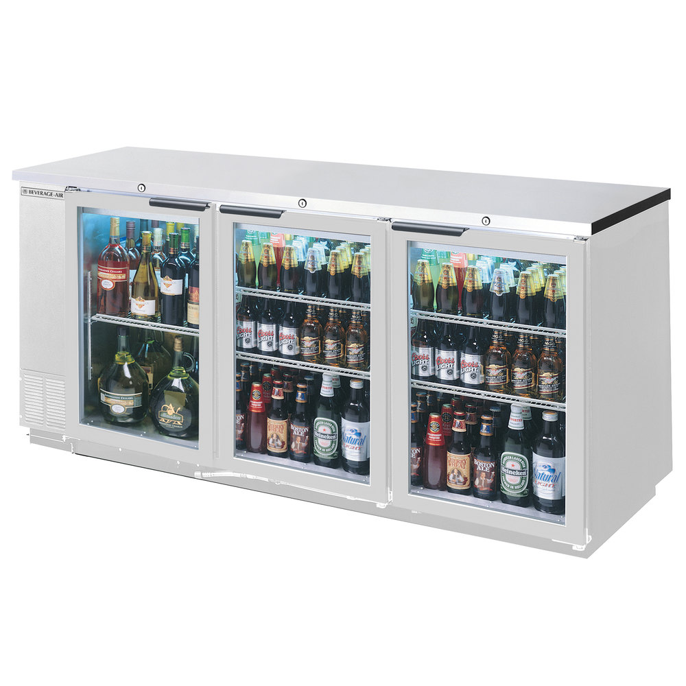 "Beverage Air BB72GY-1-S-27-LED 72"" Stainless Steel Back Bar Refrigerator with 3 Glass Doors and Stainless Steel Top - 115V"